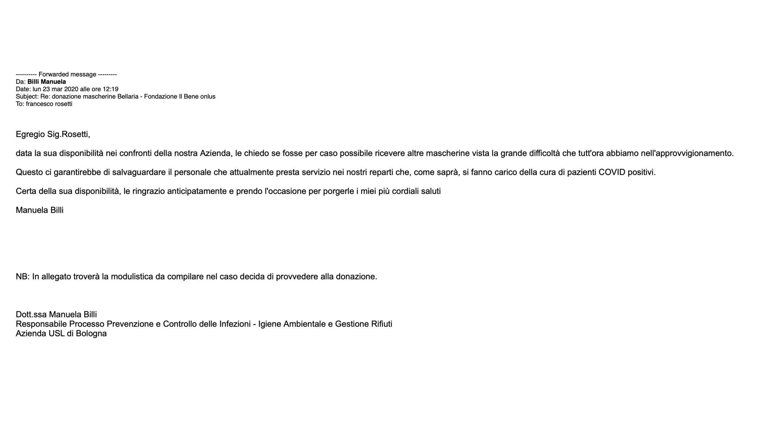 Email ricevuta dall'Ospedale Bellaria di Bologna